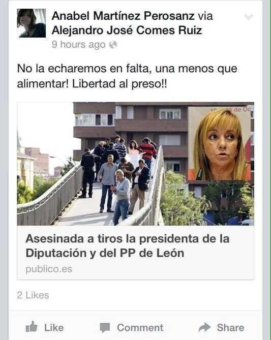 Los jóvenes del PSPV dicen que las celebraciones sobre el asesinato de Carrasco no proceden de una de sus militantes